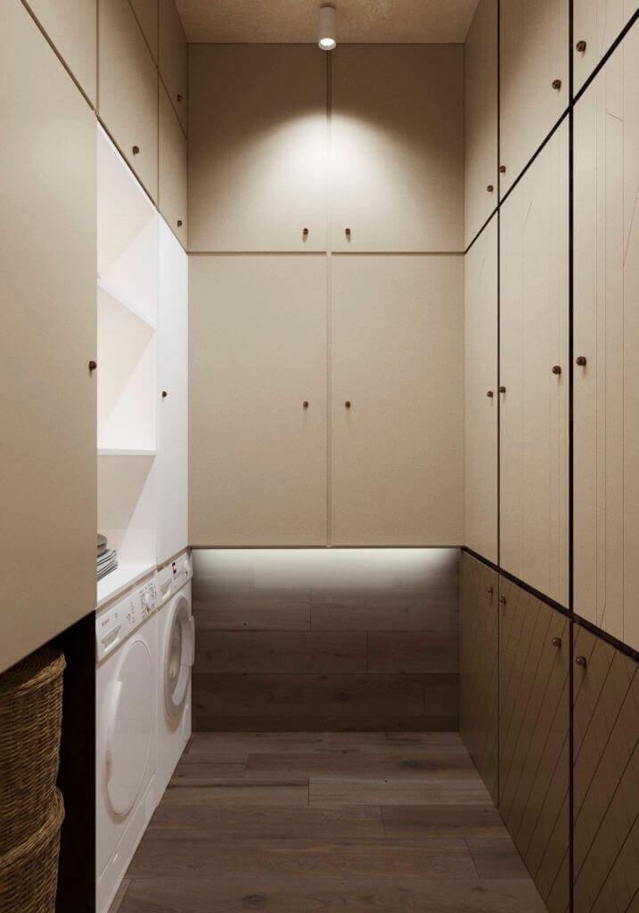 интерьер постирочной со шкафами для хранения