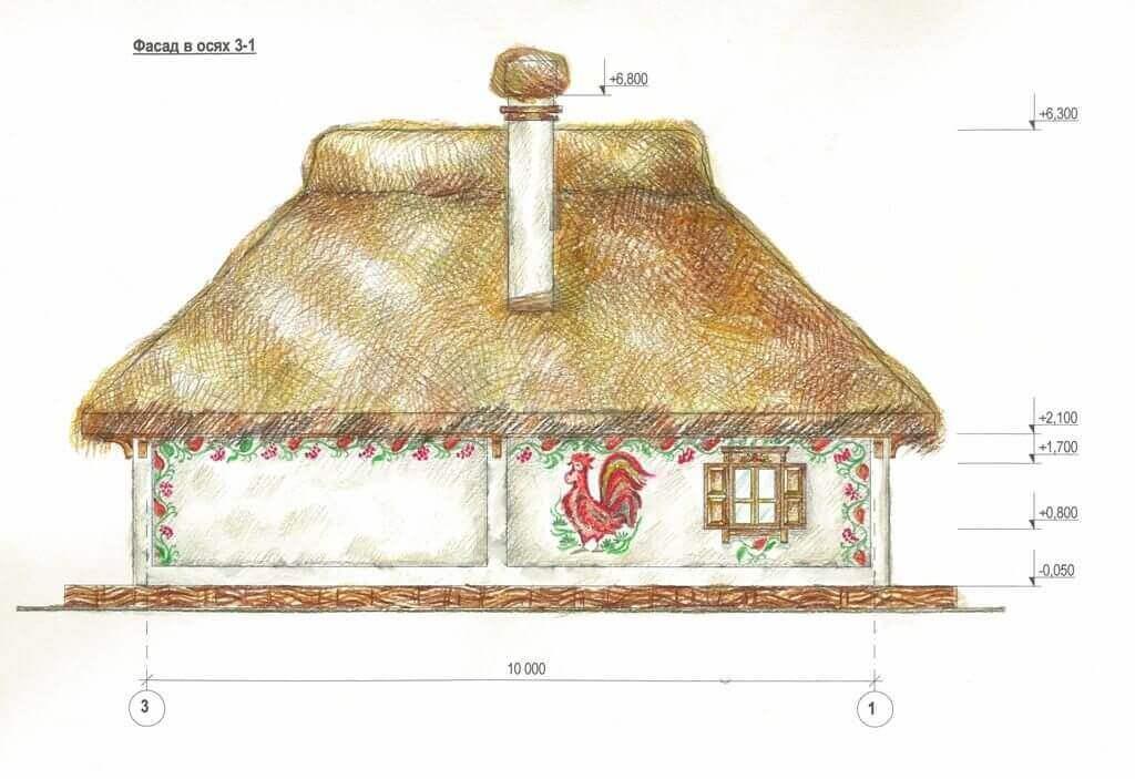 план фасада дома в украинском стиле хатка