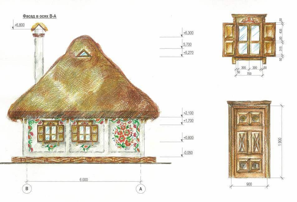 план фасада загородного дома в украинском стиле