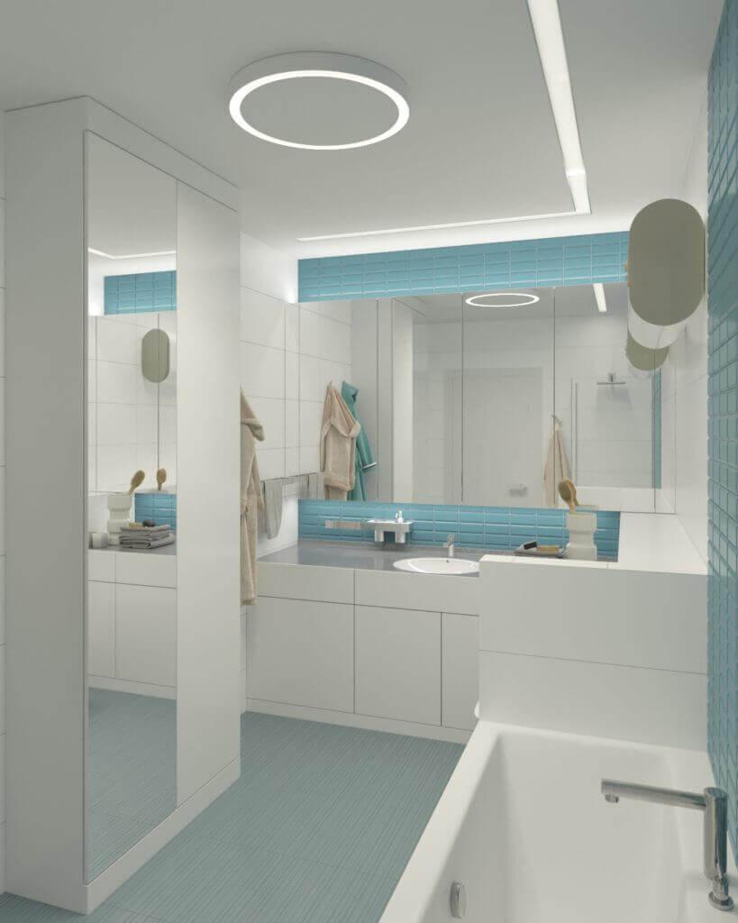 бело-бирюзовая ванная комната