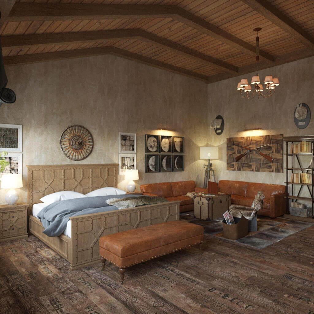 дизайн интерьера спальни в стиле шале