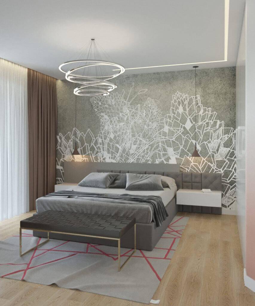 дизайн интерьера спальни с геометрическим панно