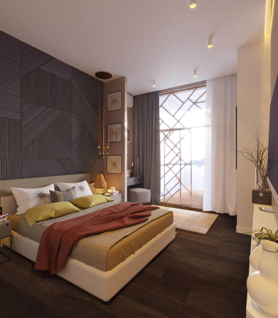 дизайн интерьера спальни с деревянными панелями