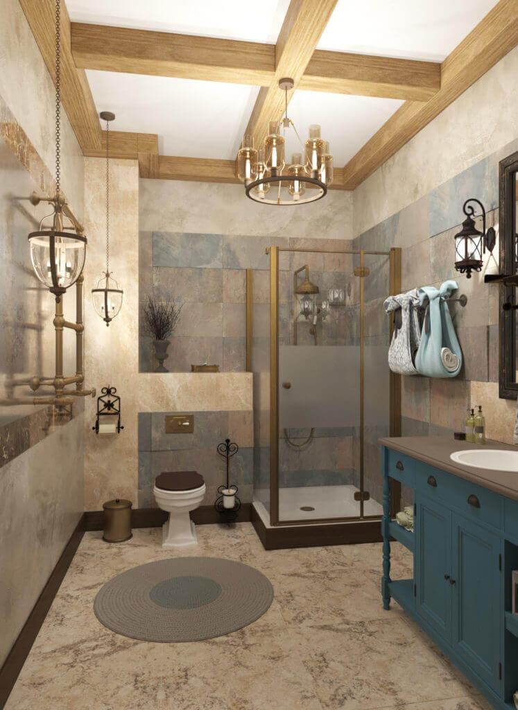 дизайн ванной в стиле шале