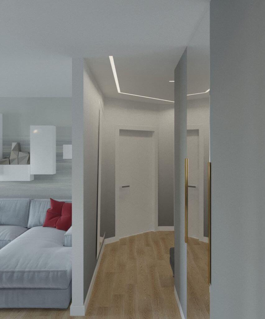 дизайн коридора с окраской стен техникой омбре