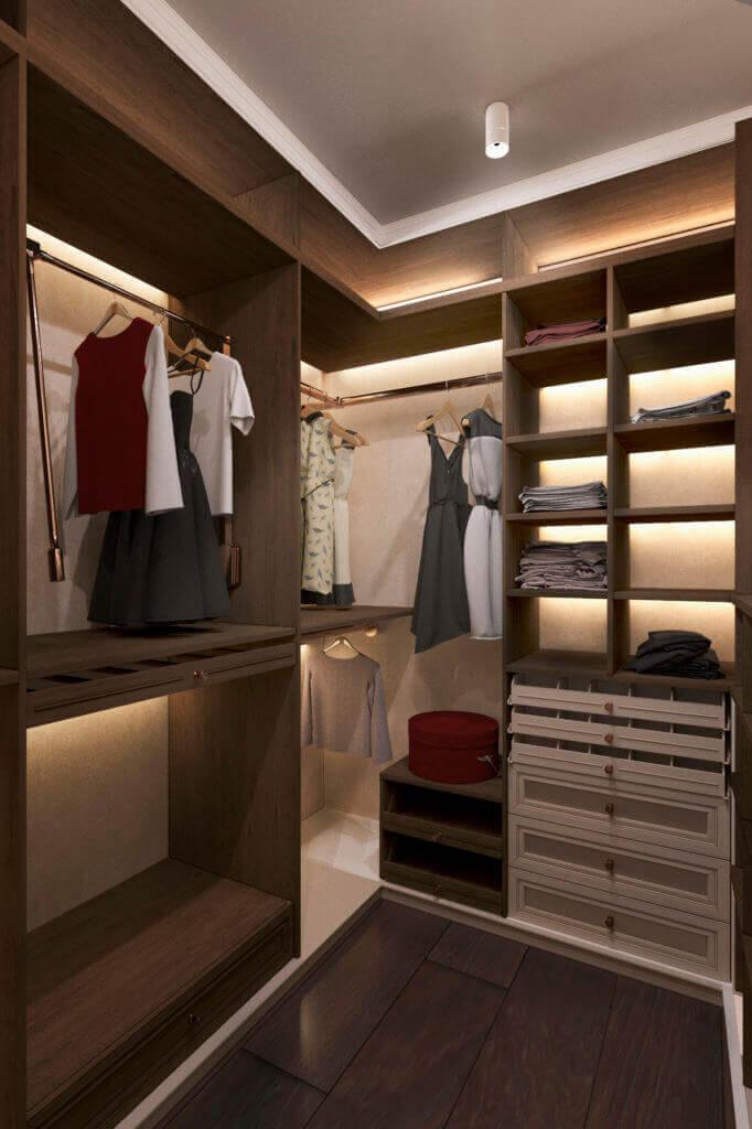 Дизайн гардеробной комнаты проект Shade