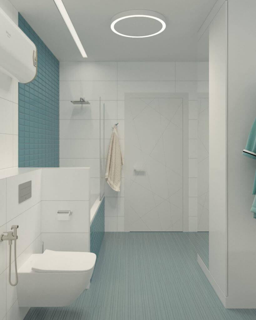 дизайн ванной комнаты в бирюзовых тонах
