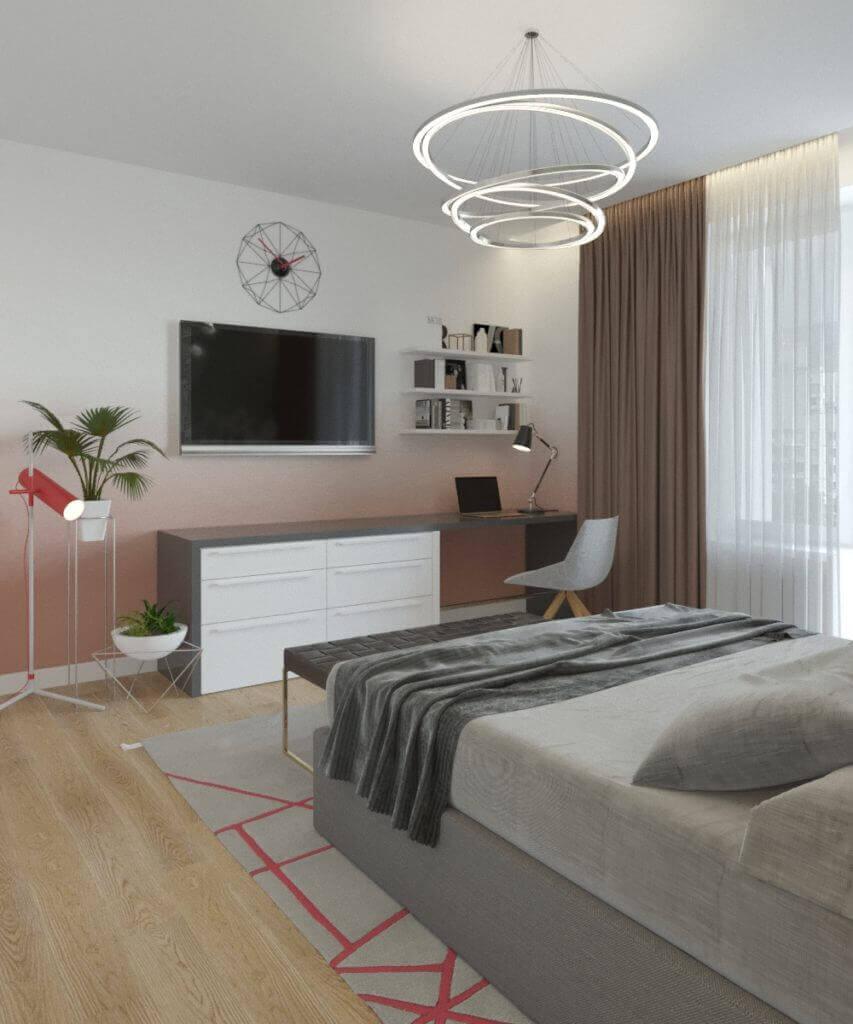 дизайн интерьера спальни с окраской стен техникой омбре