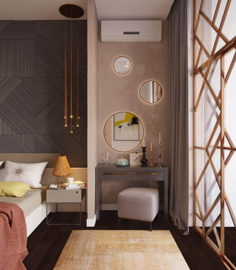 дизайн интерьера спальни с медной перегородкой