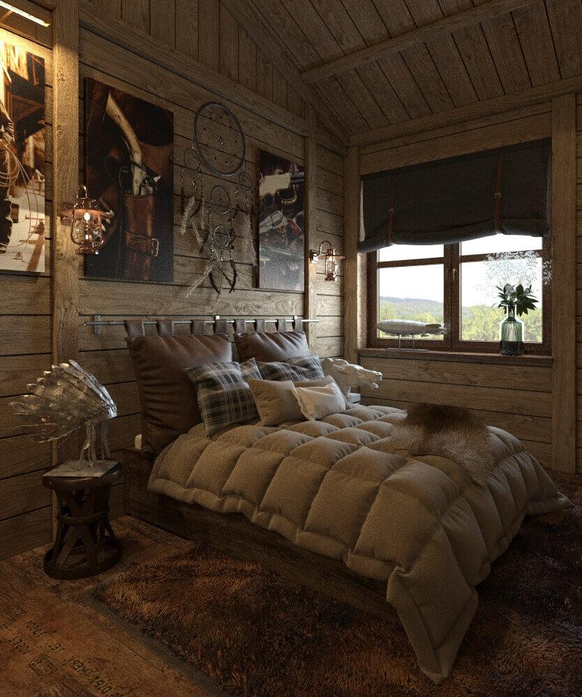 интерьер спальни в стиле дикий запад