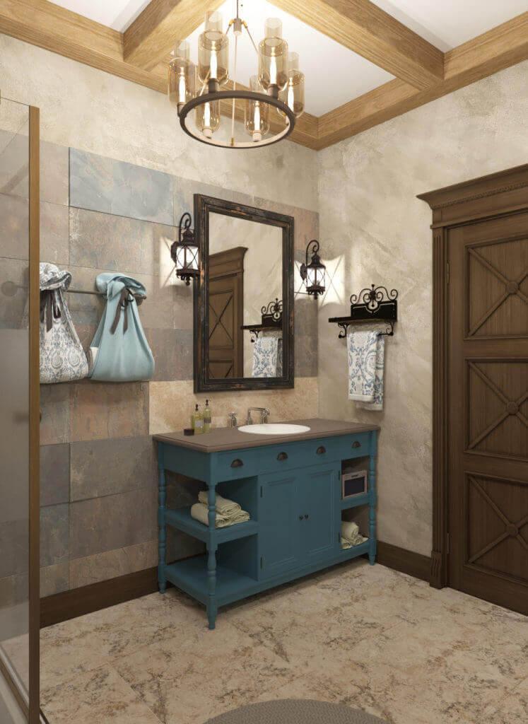 дизайн интерьера ванной в стиле шале
