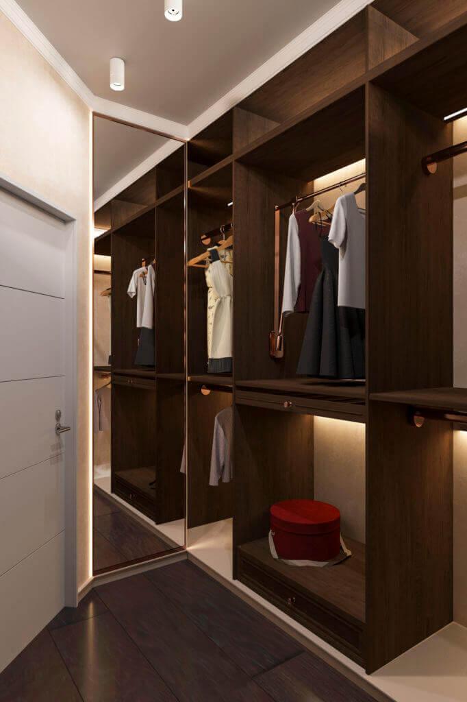 Дизайн гардеробной комнаты c открытыми полками