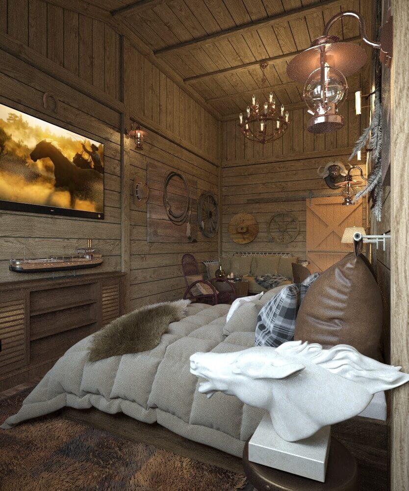 интерьер спальни в стиле запад