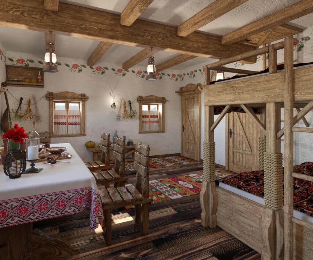 интерьер дома с украинской печью
