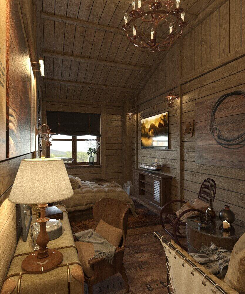 дизайн спальни в стиле запад