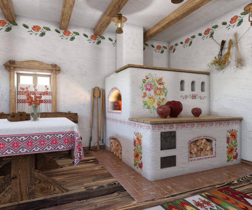 дизайн интерьера дома с украинской печью