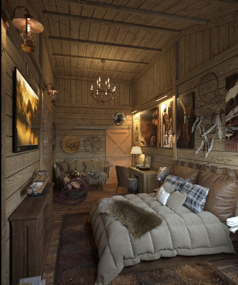дизайн интерьера спальни в стиле запад