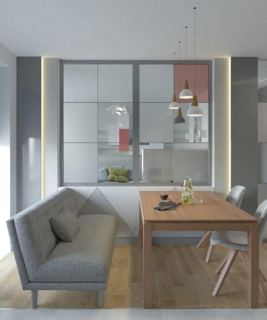 дизайн интерьера кухни с перегородкой из витражного стекла