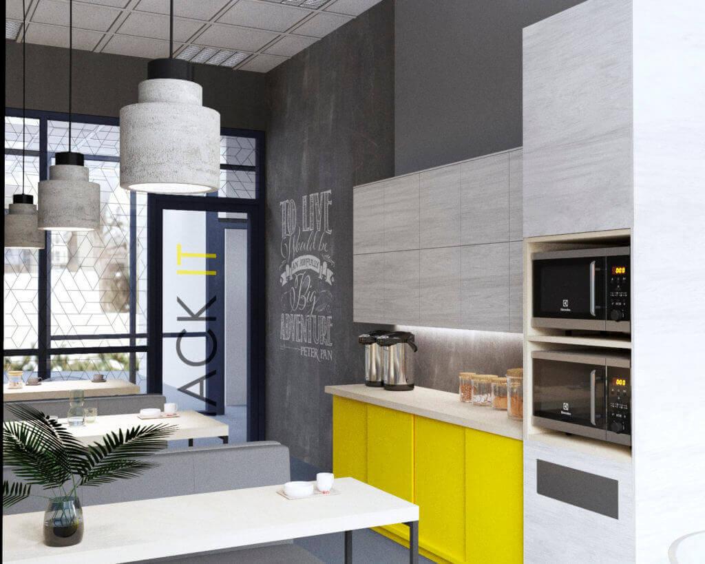 дизайн интерьера офисной обеденной зоны