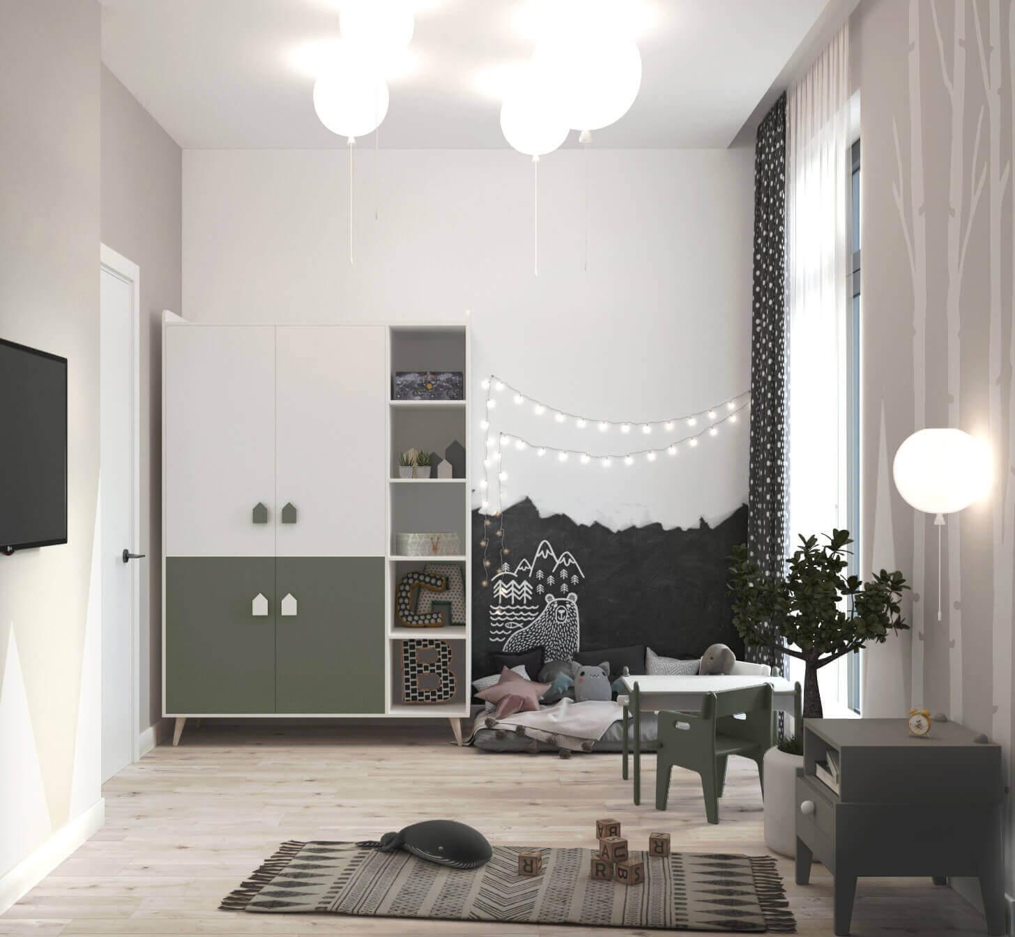 дизайн интерьера детской комнаты сказочный лес