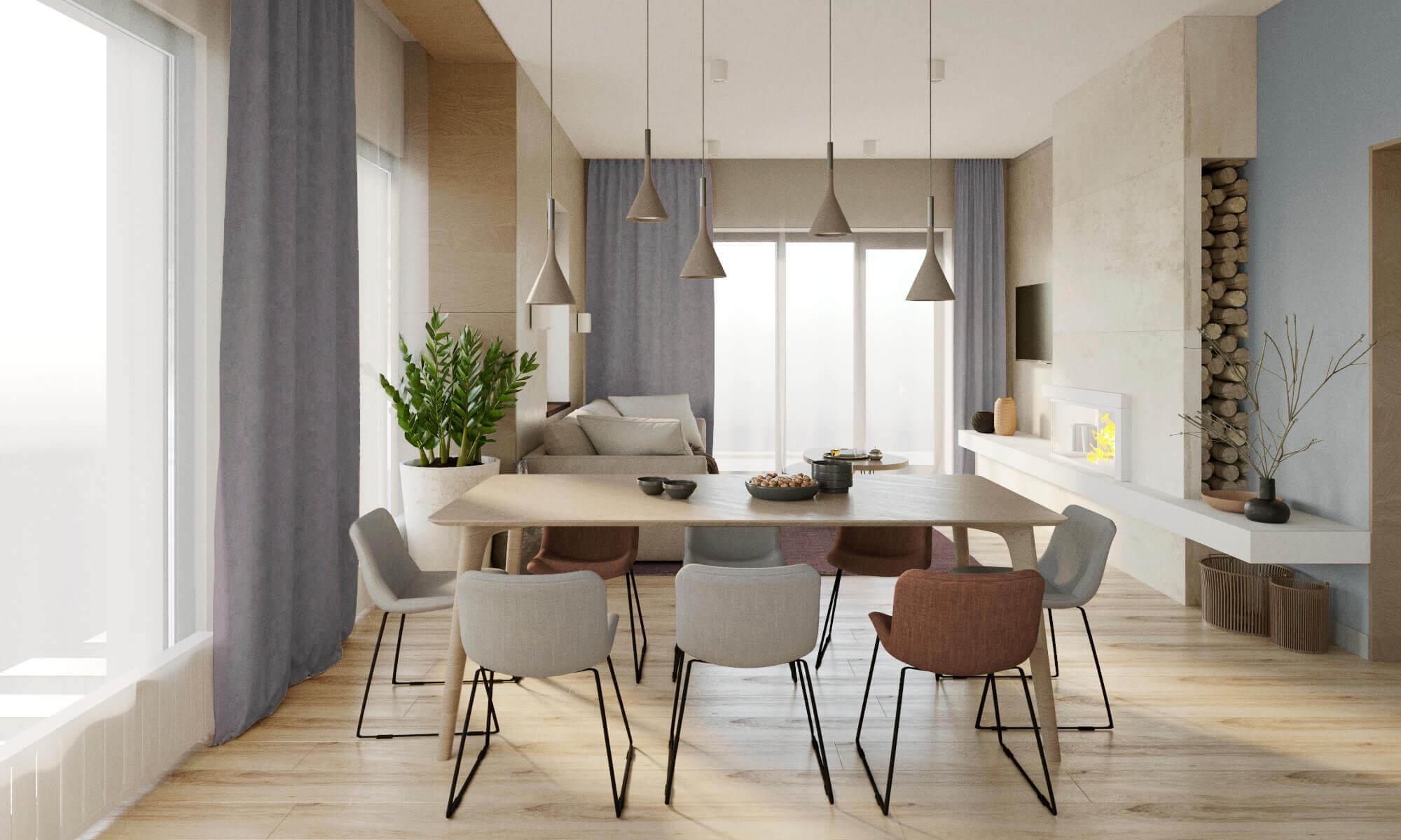 дизайн гостиной с обеденной зоной