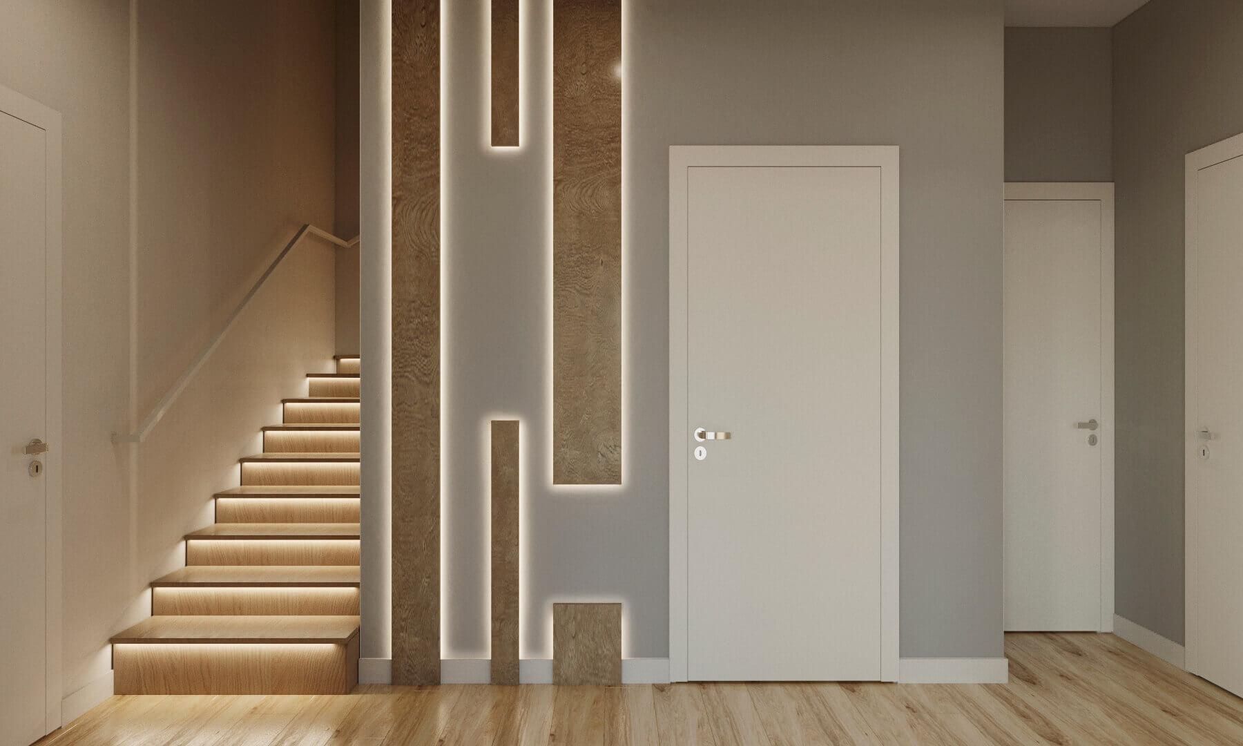 дизайн прихожей с лестницей проект Ginger