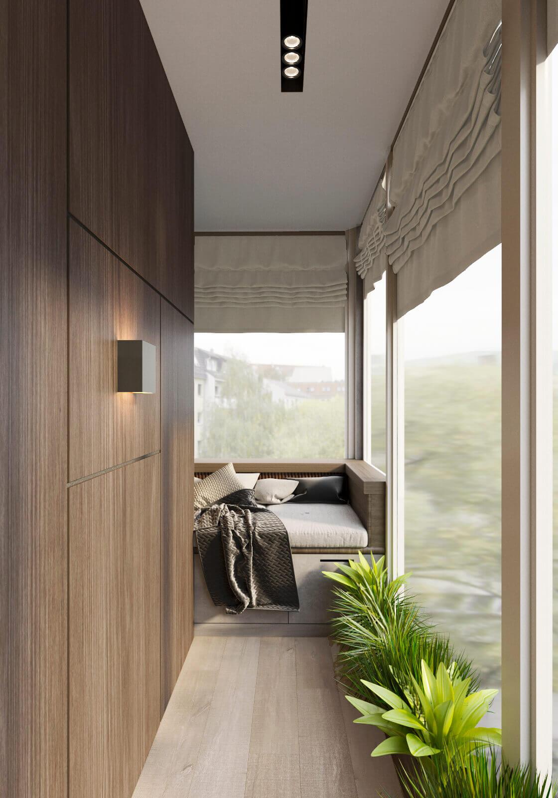 дизайн балкона зона отдыха