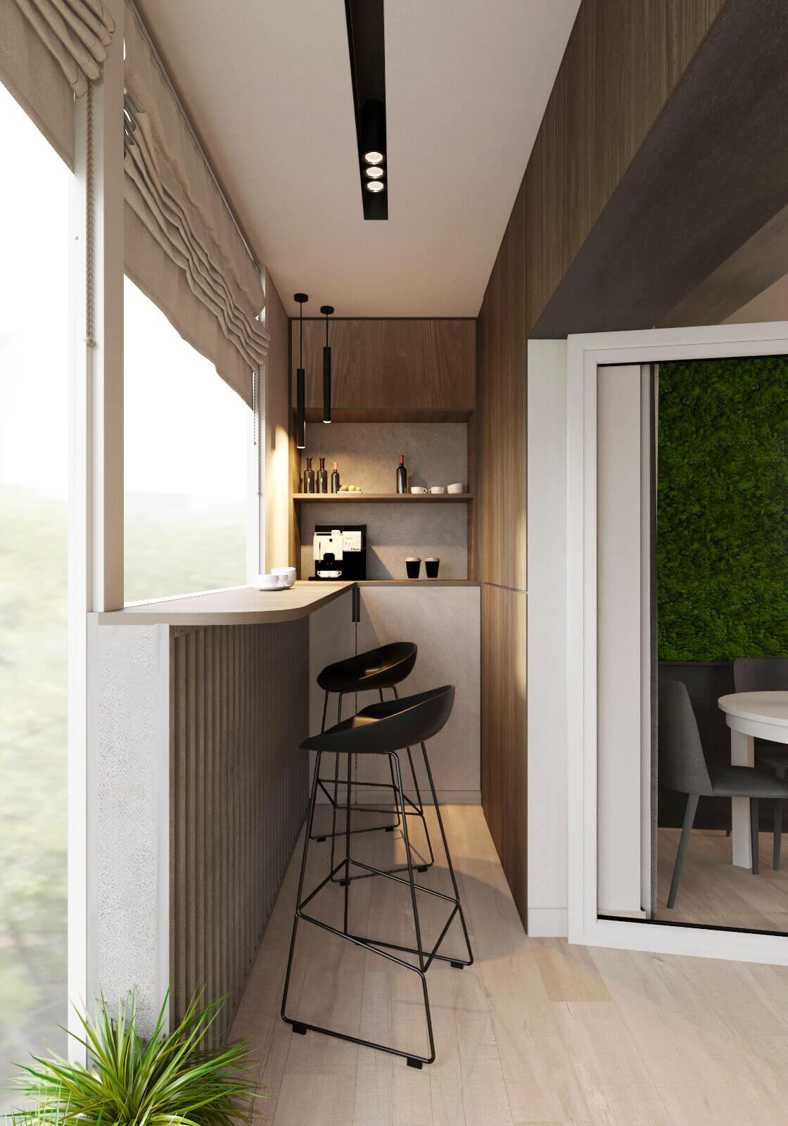 уютный интерьер балкона